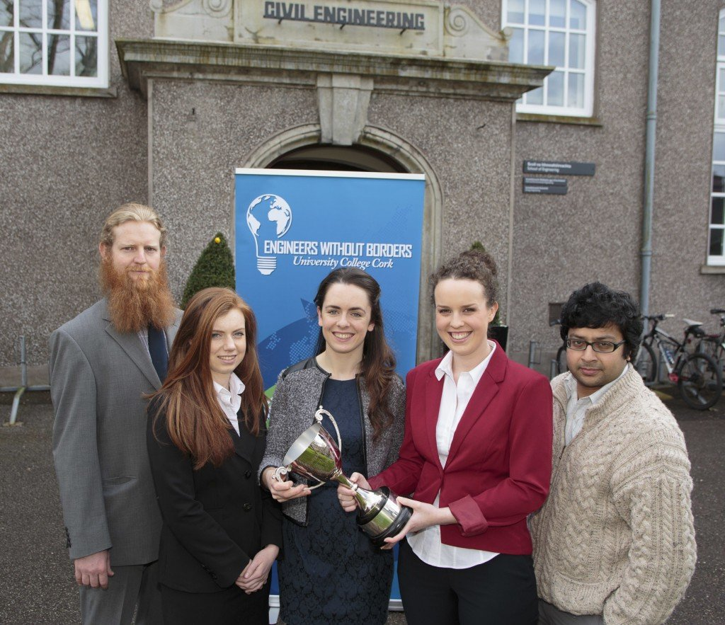 Engineers Without Borders awarded Best New Society UCC (2013/2014). Photographed in UCC are Francis White, PRO, Fiona O Brien, Finance Officer, Deirdre O Donnell, Auditor, Clodagh Murphy, Vice Auditor/Secretary and Dr Vikram Pakrashi, Lecturer, Civil Engineering and founding member, Engineers Without Borders. Photo by Tomas Tyner, UCC.
